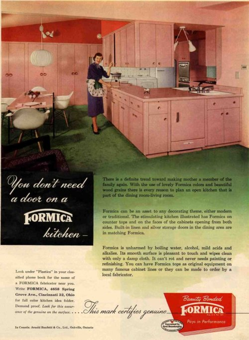 theniftyfifties:  'You don't need a door on a Formica kitchen… 1950s advertisement.