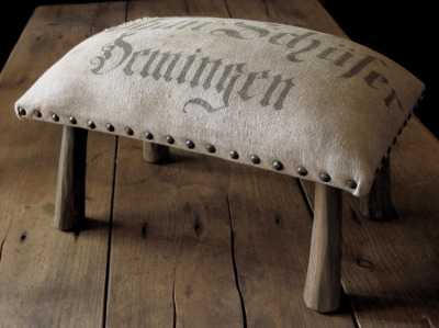 Gorgeous grain sack stool