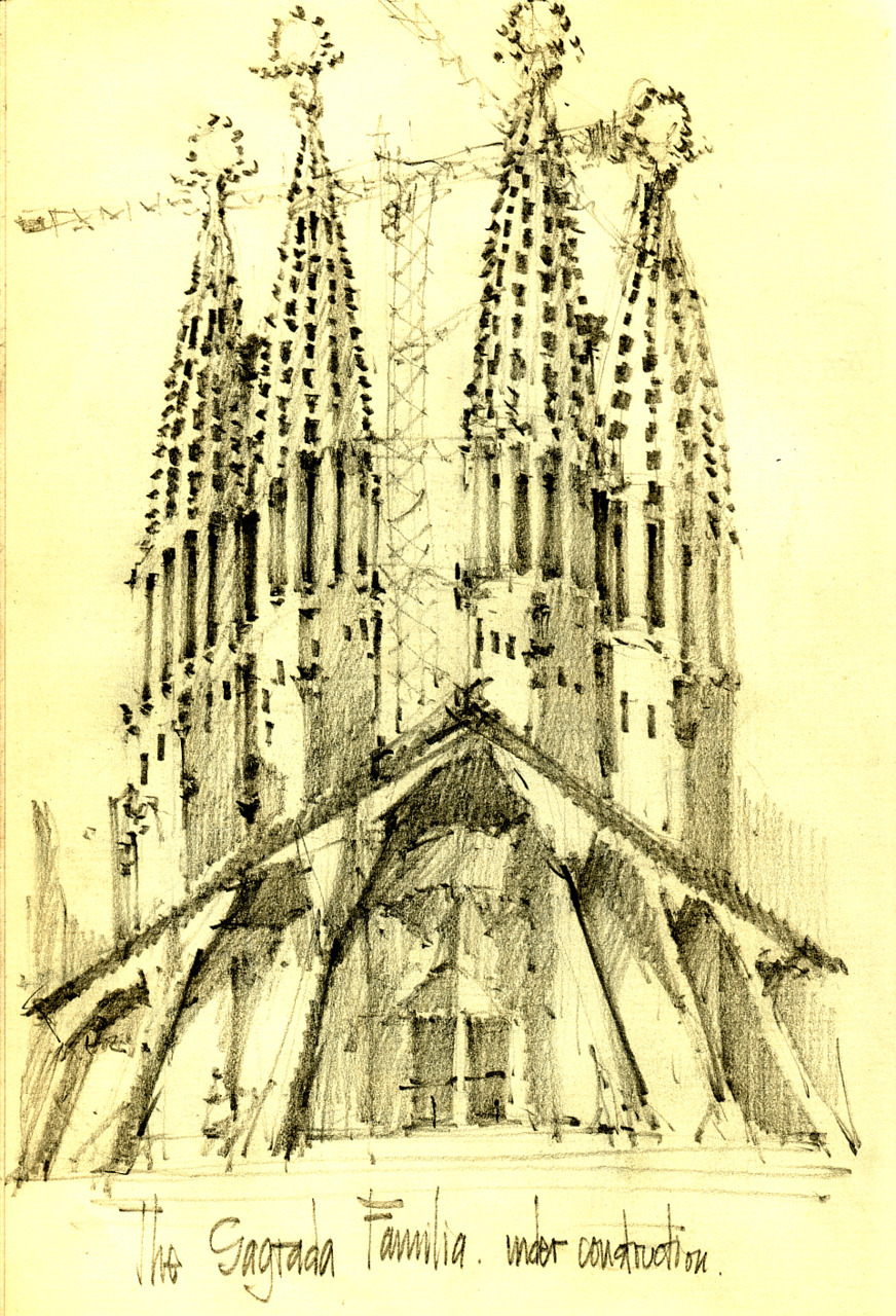 Sketch of the Sagrada Familia under construction, Barcelona, 1999.
