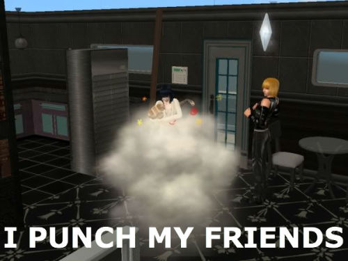 The Sims punch their friends.