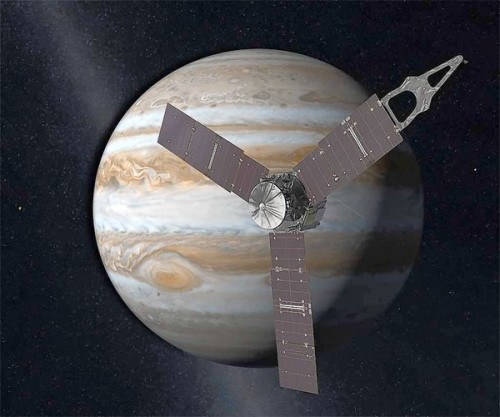 "latimes:  Juno's Jupiter mission may yield clues to Earth's origins: Starting Aug. 5, NASA will enter the launch period for the spacecraft Juno, which will begin an unprecedented exploration of Jupiter's secrets. ""We are after the recipe for planet-making,"" says a scientist. Image: An artist's rendering of the spacecraft Juno in elliptical orbit around Jupiter. Credit: NASA/JPL-Caltech"