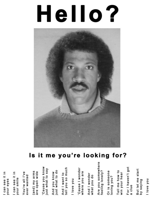 Lionel Richie Tear Off Ad - Hello? Is it me you're looking for?
