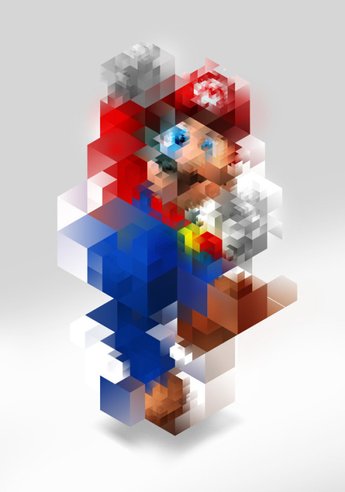 codingjester:  it8bit:  Super Mario - by Nicola Felaco  My brain is simply unable to handle this…..
