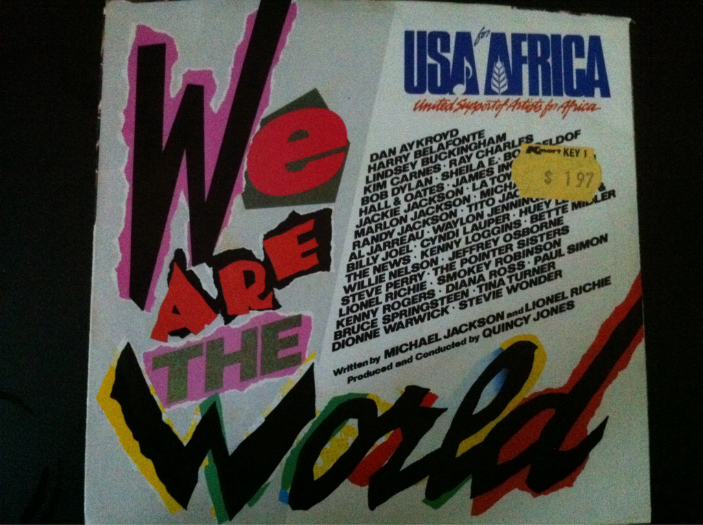 We Are The World first pressing vinyl 45 sleeve artwork