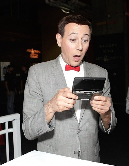 Pee-Wee Herman's jaw drops after playing the 3DS at Comic-Con (click for a larger image). Posting this here for my wife because she loves Pee-Wee Herman! I know it was recorded years and years ago, but I recently heard Fresh Air's interview with Pee-Wee/Paul Reubens, and it's fantastic. Give it a listen if you haven't yet. Buy: Pee-Wee Herman movie/show DVDs Find: Nintendo DS/3DS release dates, discounts, & more See also: More Nintendo 3DS news, handholding posts [Via GayGamer.net, @andrewnk]