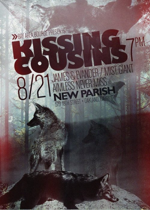 Even better flyer for our New Parish show with Kissing Cousins, James & Evander, and now The Aimless Never Miss, who have just been added to the bill. August 21st. 7pm. Get your advance tix here.