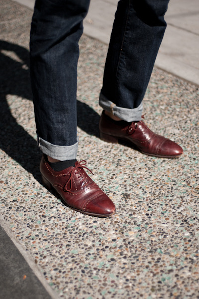 Selvedge denim + perforated wing tips = win.