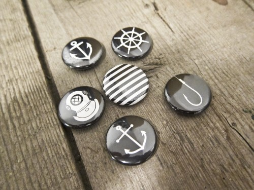 nightowlerco:  Nautical pinback buttons - set of 6 (black) available for sale on our Etsy shop.