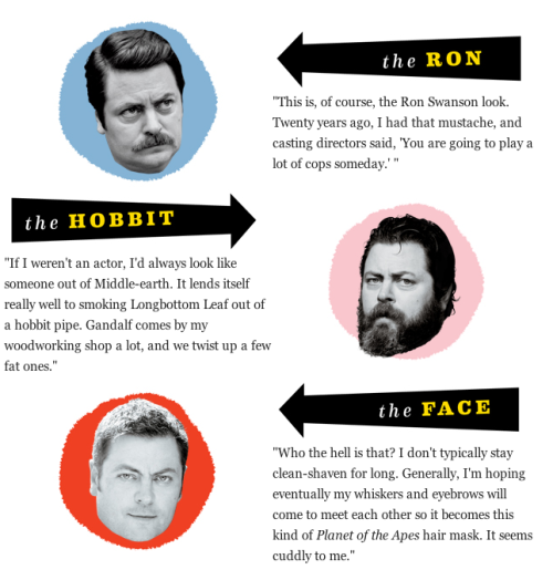iamalfff:  Nick Offerman (Ron Swanson) talks about his stages of facial hair.