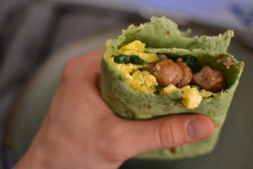 Homemade breakfast burrito.
