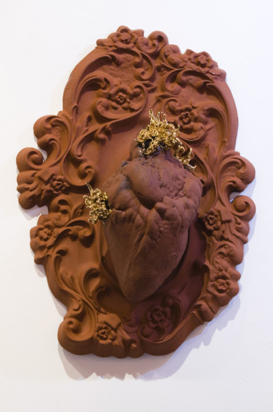 ceramicsnow:  Natalia Dias: Terra, 2010, Terracotta & gold lustre, 50x36x24cm    beautiful. i can't wait for my ceramics mold making and casting class in a month. can.not.wait.