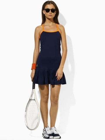 The US Open may be weeks away but you can preview the Ralph Lauren collection made especially for the annual Grand Slam. Each year, Lauren, the official apparel sponsor of the Open, offers up different, sporty designs, and 2011 is no exception: Look for a fresh take on tennis gear, with colors—bright greens, neon orange, and a rich navy— that will pop with or without rackets.