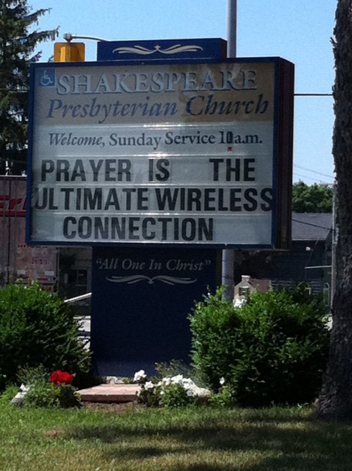 Amusing church sign in Shakespeare, Ontario.