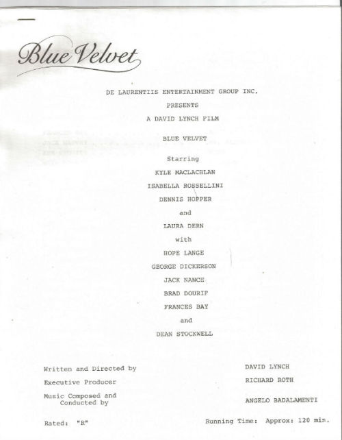 Blue Velvet Screenplay