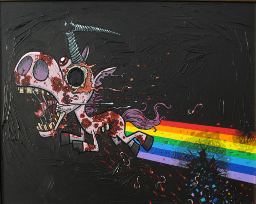 Flight of the Zombunicorn by Joe Havasy Acrylic on board