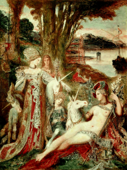 "Gustave Moreau (1826-1898)The UnicornsOil on canvasc188590 x 115 cm(35.43"" x 3' 9.28"")Gustave Moreau Museum (Paris, France)"