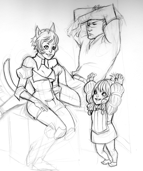 A group shot of my main character and the two others. I WILL FINISH THIS.