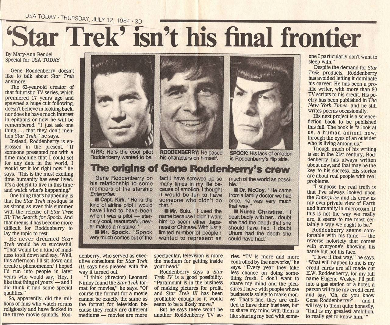 Great article about Gene Roddenberry.