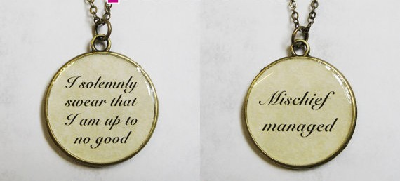 Marauder's Map spells double-sided pendant necklace by ccppolly on etsy