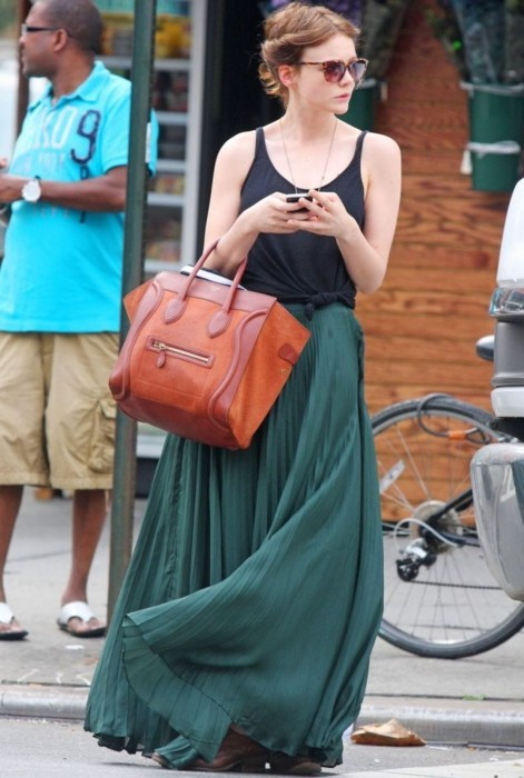 Long pleated skirt + tank top (via theglitterguide:  (via Style / that lucie girl)