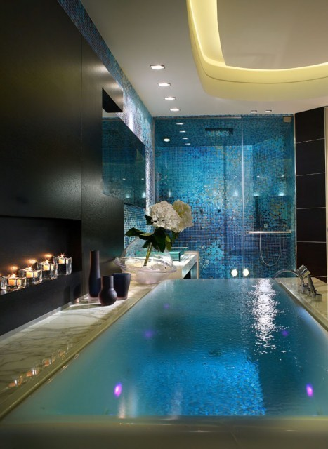 Stunning bathroom!! Mosaic, marble, water, candles…perfect. Via Houzz
