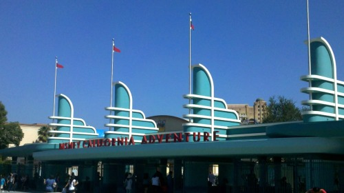 "I LOVE THE NEW ENTRANCE FOR DCA!!!!!!   It's absolutely perfect.   Don't get me wrong, I miss the letters & the fact that the golden gate bridge is gone makes me kind of sad.. But the new entrance is just beautiful. It completely reminds me of ""Meet the Robinsons"" which is one of my all time favorite movies so it's all just so wonderful! I'm excited to have finally seen the turnstyles with the wall down & actually be able to take a picture of it; even if it's only one with my droid. I seriously can't wait to see how the rest of it turns out.. I'm so excited! ;]"