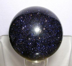 Blue goldstone, as it is commonly known. My favourite. Not actually a stone at all, this one. Just glass. But pretty.