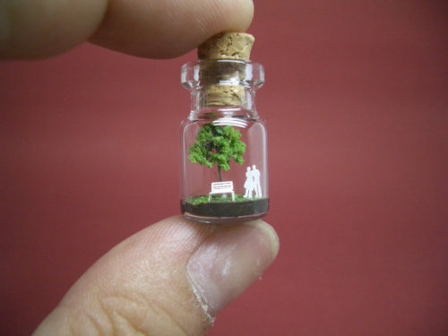 Etsy Tiny Green Tree and People in a Tiny Bottle. Japanese artist, Akinobu, creates these amazingly detailed tiny worlds in little bottles. Sold by tinyworldinabottle at his etsy store here.