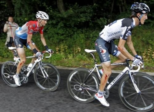 Poor Andy.Andy and Fränk. Tour de France 2010.
