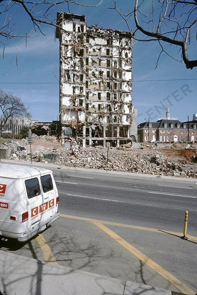 1986 - Wrecked remains of the Pershing Point Hotel during demolition.  Midtown Atlanta (via Atlanta History Center Album. Midtown)
