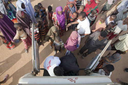 doctorswithoutborders:  An MSF ambulance arrives at the reception center at Dadaab refugee camp in Kenya to pick up patients urgently in need of medical attention. Many Somali refugees, especially children, arrive at the camp dangerously malnourished; some do not survive the journey. View more photos in our slideshow. Photo: 2011 © Brendan Bannon