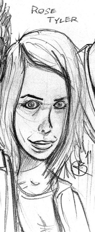 I also sketched Billie Piper as Rose Tyler! Even though she can get annoying, she's probably my favorite Companion of the Doctor's. Piper also has this mouth structure which I'm found of (nothing creepy about that, at all). I've only really noticed this mouth type on her and a couple other girls I know.