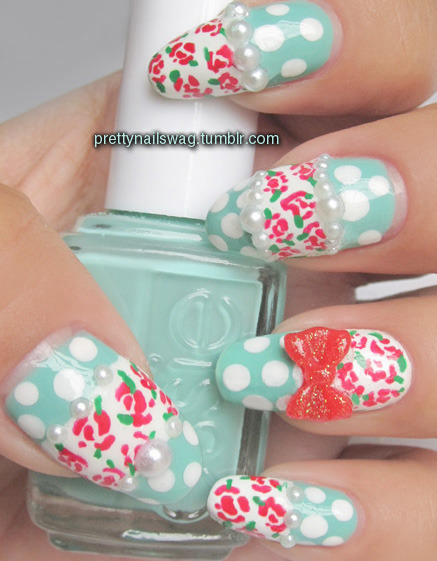 prettynailswag:  My *attempt* at MimiMemeko's lovely Rose & Pearl Nail Tutorial (check her out, she has the cutest nail designs!) Kinda failed on the roses but as usual, idgaf lol…used Essie - Turquoise & Caicos, Rimmel - White Tips, Orly - Monroe's Red.