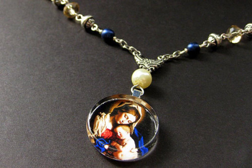 Handmade Mary and Child Beaded Necklace