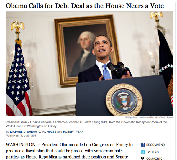 "Bag's Take-Away:  Everyone getting loopy with debt ceiling circus. Here, NYT photog makes a funny (about politics of ""winning the stand-off"" in D.C). Get it? cajoling Obama + father of our country = ""only grownup in the room.""      ————— Topping LIFE.com's 2011 list of Best Photo Blogs, follow us at: BagNewsNotes; BAG Twitter; BAG Facebook; Bag by Email."
