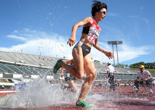 KOBE, JAPAN - JULY 10: Misato Horie of Japan competes in the Women's 3000m Steeplechase final during the day four of the 19th Asian Athletics Championships at Kobe Universiade Memorial Stadium on July 10, 2011 in Kobe, Japan. (via Photo from Getty Images)