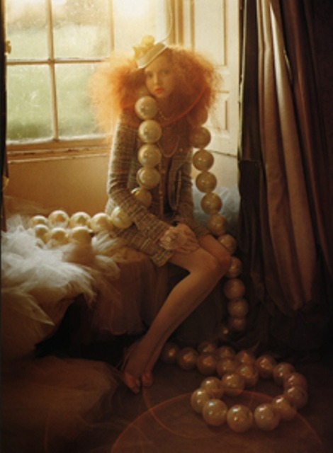 Lily Cole and Giant Pearls (2004) by Tim Walker  You know it's a Tim Walker photograph when you see it! Each photograph is like a dream or a fairytale, so beautiful I could stare at them for ever.