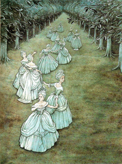 "fairytalemood:  ""Twelve Dancing Princesses"" by P.J. Lynch"