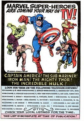 Ad for the Marvel Superheros syndicated cartoons of the 1960s