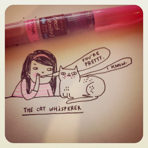 The Cat Whisperer  illustration by Gemma Correll :: via gemma-correll.blogspot.com