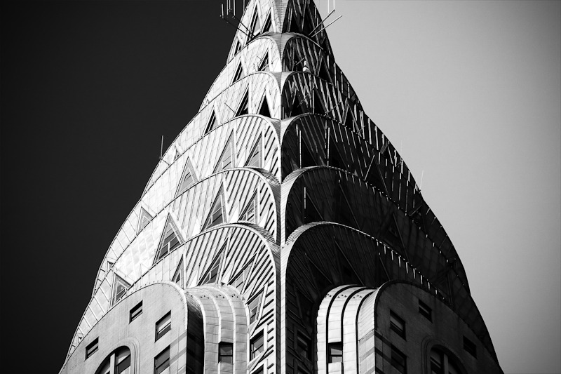 decoarchitecture:  Chrysler Building, NYC, New York Fine shot of the Chrysler's crown. I love the dark on the left, light on the right.