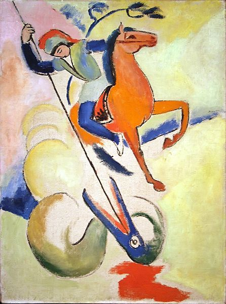 smallvictories:  August Macke St. George and the Dragon, 1912