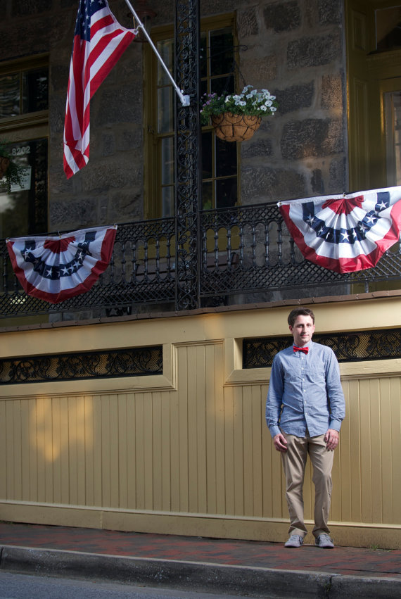 themitchcase:  bowtieco:  Check out Mitch.. so patriotic!  I should've tucked my shirt in…and maybe smiled.