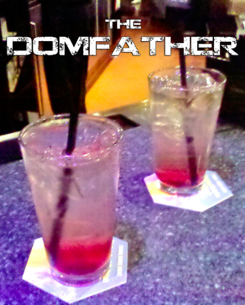 The Domfather (Gears of War Cocktail) Ingredients:1 shot black cherry rum1 shot Captain Morgan's rum1 shot grenadineSpriteLemonade  Directions:  Mix first three ingredients and pour over ice in a highball or pint glass.  Fill the rest of the glass with half Sprite and half lemonade.  Drink it down and KILL ALL LOCUST! Story Behind the Drink: This drink was co-created by Carlos Ferro, the voice actor of Dom in the Gears of War games.  While at E3 2011, Drunken Moogle reader Joe Fronczek met Ferro at a Gears of War 3 after party.  They attempted to order a Crimson Omen, but the bar unfortunately didn't have all the ingredients, so they made their own drink- the Domfather.  Below is a picture of Ferro/Dom and Fronczek at the bar.  (Drink created by Carlos Ferro and Joe Fronczek.  Thanks for the submission, guys!) *Edit*Since the time we posted posted this, Joe, 8 Bit Brandt, and Red Like the Color have started their own geek drink site, called EXPBarOnline.  They recently created a post of their own for the Domfather drink, which can be viewed here.