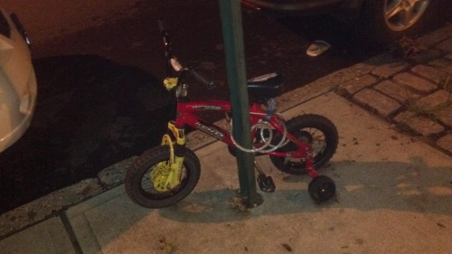 This reminds me of my childhood… although I didn't need to lock up my bike where I lived. ;)  honorarysword:  We keep our rides locked up!