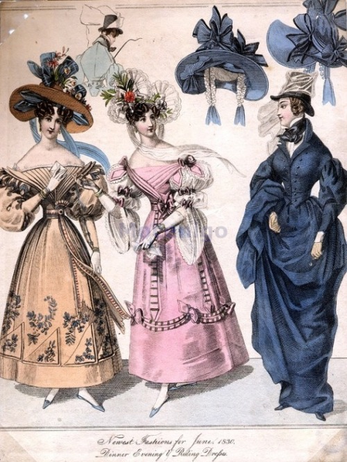Bonnets, dinner, evening and riding dress, 1830