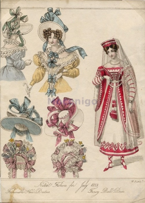 oldrags:  Bonnets and fancy dress, 1828 I think the costume is supposed to be Russian traditional dress.  Crazy hats!