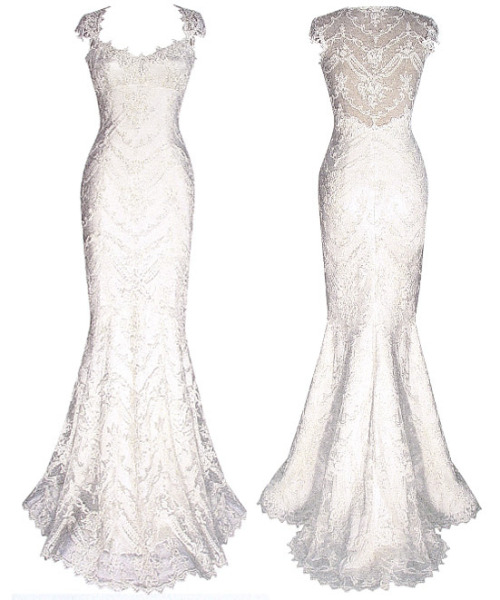 "weddingdressaday:  Claire Pettibone's ""Chantilly"" All about fitted gowns lately, and lace… hmm.  this is the wedding gown i've been searching for… but a revision of the tail will do to suite my taste…"