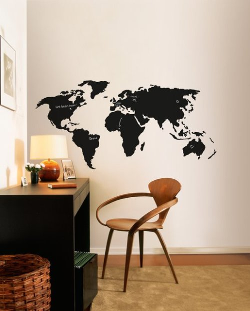 rozanes:  ReCraft Your walls: Chalkboard World Map Make a bold graphic statement and re-invent a room with these fun, easy-to-use wall stickers. Whether it be a clever visual play, a graceful embellishment, or a flight of whimsy, these removable vinyl wall stickers are just the right touch to make a unique statement. —————————————————————————————————Buy it here: $153.50 | Displayed on Recraft | Facebook | Twitter—————————————————————————————————