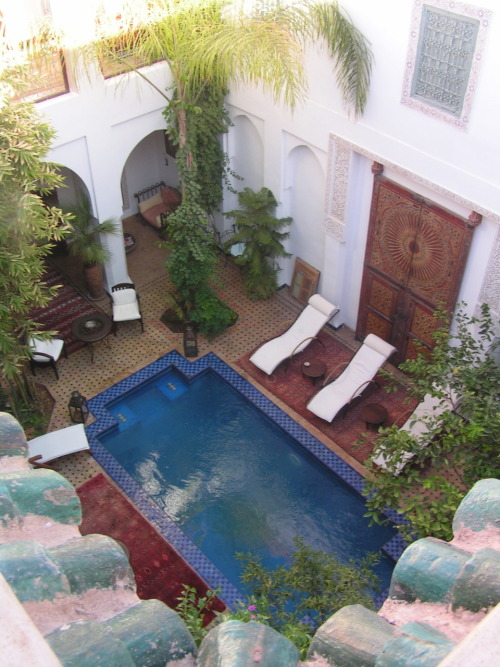 Talk about a time of cool relaxation. How can you keep that? Repeat it? Riad Yeux Bleu. Marrakesh, Morocco